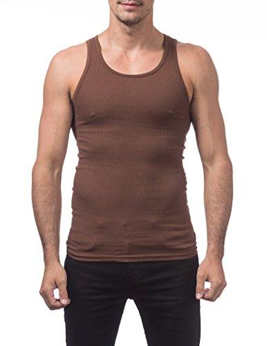 Pro Club Men's Premium Ringspun Cotton Ribbed A-Shirt (2-Pack), Large, - Outlet La Premium