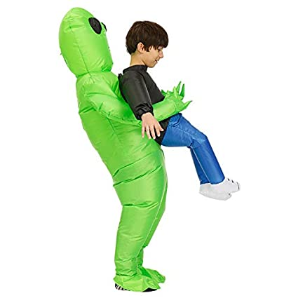 Gizayen Green Alien Carrying Human Costume Inflatable Funny Blow Up Suit Cosplay for Party, Costume Inflatable Fancy Costume Halloween Cosplay Fantasy ...