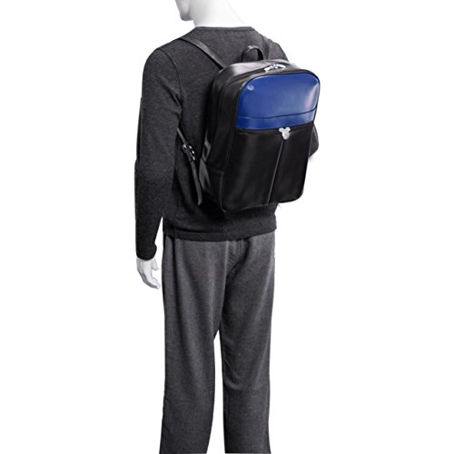 McKlein USA Avalon, 39,1cm Leder Laptop Slim Rucksack Black/Red Trim Einheitsgröße Schwarz/Marineblau