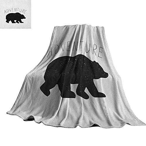 Adventure Bear Fleece - Adventure,Fleece Blanket Black Silhouette of a Wild Bear Zoo Animal Nature Passion Hipster Design Blanket for Bed Couch 60