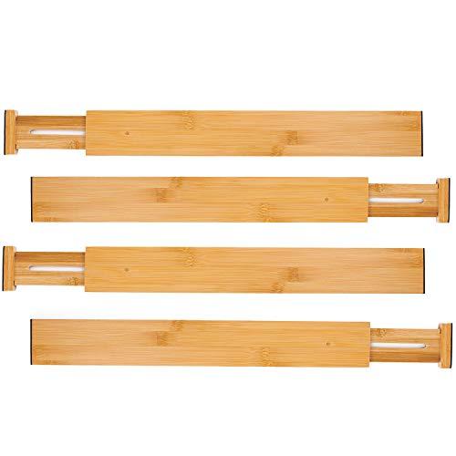 Utoplike Bamboo Kitchen Drawer Dividers Adjustable Drawer Organizers,Spring Loaded,Works in Kitchen,Dresser,Bathroom,Bedroom,Baby Drawer,Desk (Set of ()