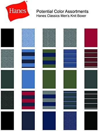 Hanes Mens 5 Pack Ultimate Dyed Exposed Waistband Knit Boxer Colors May Vary