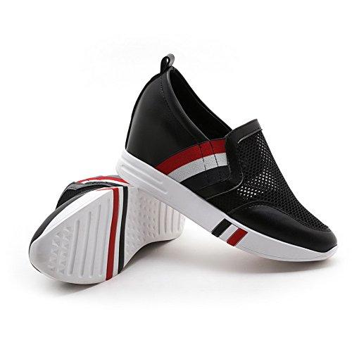 AllhqFashion Ziehen Rund Schuhe Zehe Absatz Damen Gemischte Pumps Mittler Weiches Material auf Schwarz Farbe 00zwr