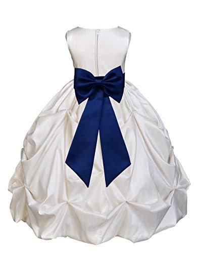 Ivory Satin Taffeta Pick-Up Bubble Junior Flower Girl Dress Birthday 301T 4
