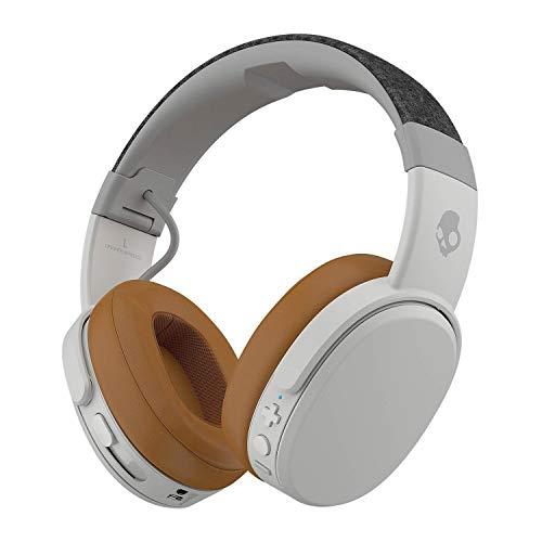 Skullcandy Crusher Bluetooth Wireless Over-Ear Headphone with Microphone, Noise Isolating Memory Foam Gray/Tan (Renewed)