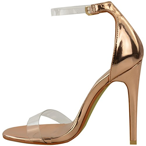 Gold Metallic Size Party Perspex Strap Thirsty Womens Rose Gold Rose Barely High Heel Shoes Fashion There tqO4w1