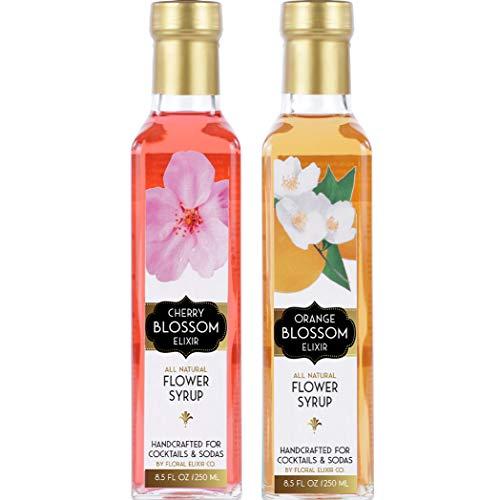 - Floral Elixir Co. Orange Blossom & Cherry Blossom Elixirs - Syrups for Cocktails & Sodas (2 x 8.5 oz)
