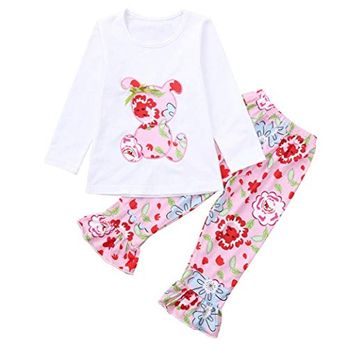 Fleece T-shirt Bib - 1-6 Years Toddler Kids Baby Girls Long Sleeve Little Animals Top T Shirt+ Cute Floral Pants Clothes Home Wear Outfit Sets (White B, 5T)