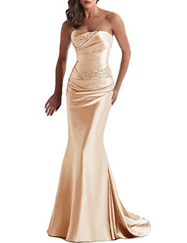 APXPF Women's Long Beaded Mermaid Evening Bridesmaid Dress Formal Prom Gown Champagne US20 (Champagne Long Satin)