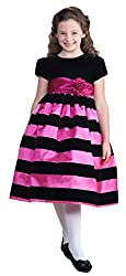 Crayon Kids Little Girls White Stripe Special Occasion Dress 2T to 10 years fuschia size 2T