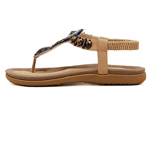 Summer Women Sandals, | Sweet Beaded Clip Toe Sandals | Bohemia Heels Ankle Shoes Flat Wedges Shoes Lovely Footwear Flip Flop Sandal | No Rubbing | Foot Toes Comfortable To Wear Khaki
