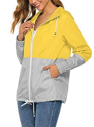 Hount Women's Raincoat Waterproof Lightweight Rain Jacket Windbreaker with Hood (Yellow/Grey, Small)