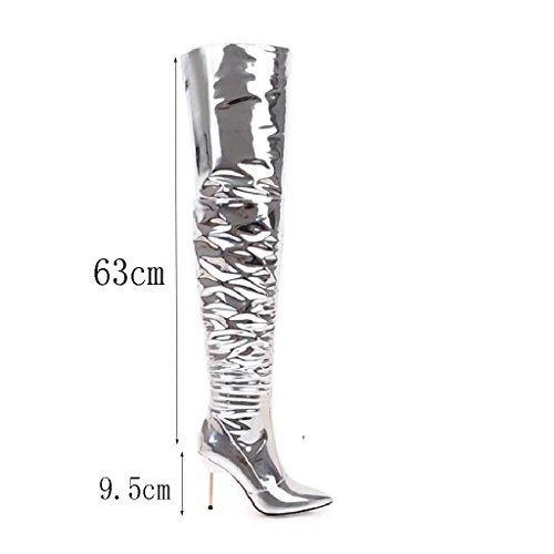 The Sexy Kitzen Shoes Silver High Over 9 Boots Low Banquet Ladies 33 Knee High Party Thigh Heel Womens Cm Size Zipper r8qXr