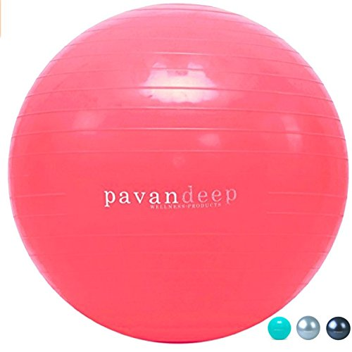 Pavandeep Exercise Ball Anti Burst Stability Balance Balls for Fitness Yoga Gym, Use As Desk Chair, Pump Included, Phthalate Free (Neon Pink, M (65cm))