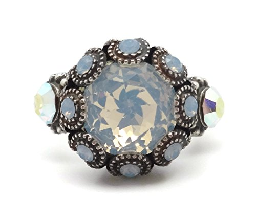 Mariana Swarovski Crystal Silver Plated Ring Adj Round White with Blue Accents 1055 Cosmo