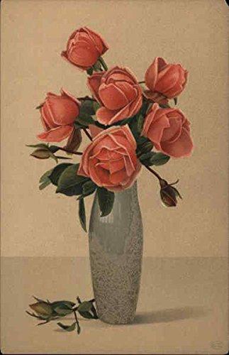 Pink roses in tall olive green vase Flowers Original Vintage (Post Vintage Vase)
