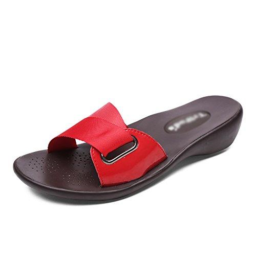 Di Romano Estate Pistoni Sandali Rosse Esterna Piatto Studenti E Fondo Usura Jolly Zcjb Di Pantofole Modo Tacco TA0xqOA
