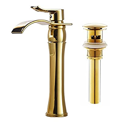 Votamuta Waterfall Spout Single Handle Bathroom Sink Vessel Faucet Mixer Tap Lavatory Faucets Tall Body Brushed Nickel with Pop Up Drain