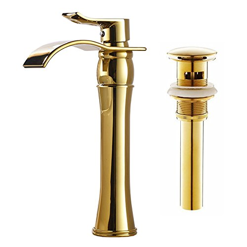 Votamuta Waterfall Spout Single Handle Bathroom Sink Vessel Faucet Basin Mixer Tap, Gold Lavatory Faucets Tall Body with Pop Up (Gold Vessel Lavatory Spouts)