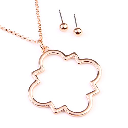 MYS Collection RIAH Fashion Moroccan Metallic Geometric Pendant Long Necklace - Cutout Clover Quatrefoil Charm Layering Chain Necklace (Rose (Rose Gold Clover)