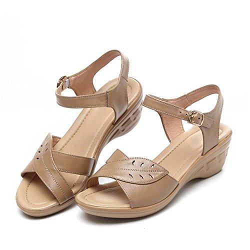 QL@YC Damen Sandalen Sommer Slope Mit Großer Yards Von Nicht Slip Leder Weiche Unterwäsche In Der Damenschuhe , brown , 38