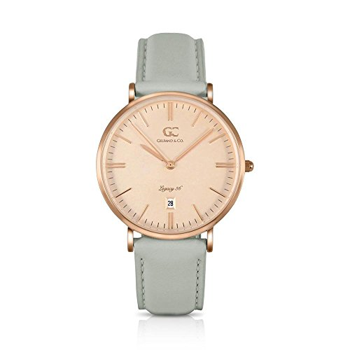 Gelfand & Co. Women's Minimalist Watch Light Gray Leather Stanton 36mm Rose Gold with Rose Gold Dial