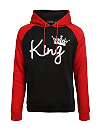 Mupoduvos Couple King Queen Hooded Sweatshirt Thick Color Block Unisex Tops