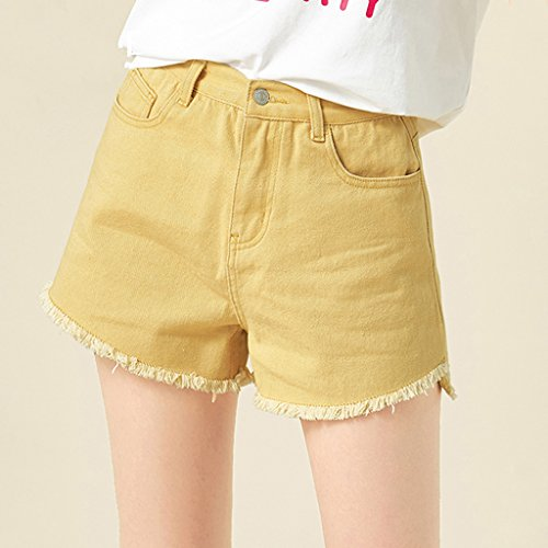 QI FANG BUSINE Femme Shorts en denim tudiant d't Thin Hot pants Pantalon mi-long Coton Macaron multicolore (Color : Yellow, Size : S) Yellow