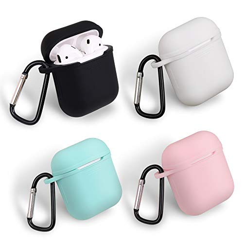 (homEdge AirPods Case, 4 Packs Seamless Fit Silicone Protective Cover with D Shape Clip for Apple AirPods Case - Black, White, Pink and Mint Green)