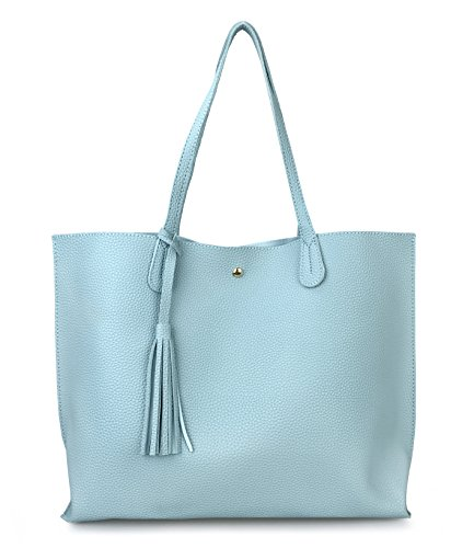 Minimalist Clean Cut Pebbled Faux Leather Tote Womens Shoulder Handbag (Sea (Blue Tote)
