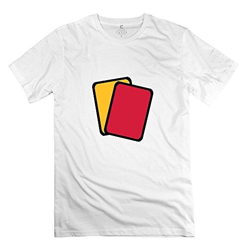 Yongth Men's Red Yellow Card 100% Cotton T-Shirt - Art Tee Shirt White US Size M