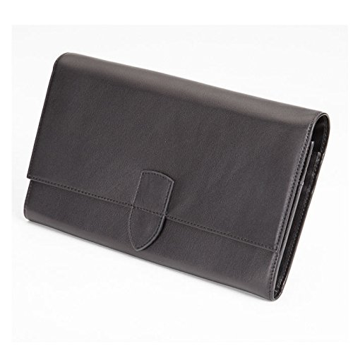 Royce Leather Luxury Travel Passport Document and Currency Organizer in Leather, Black by Royce Leather