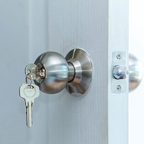 Gejoy 3 pack privacy door knob sets passage door handle - Bedroom door knobs with key lock ...