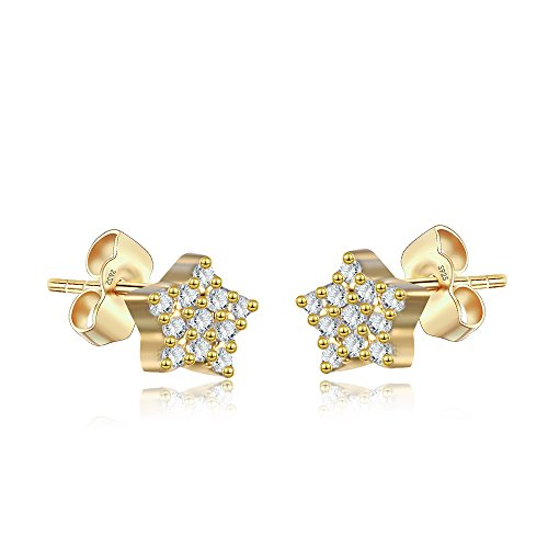 (Tiny Small Star Stud Earrings in Sterling Silver 14K Yellow Gold Finish)