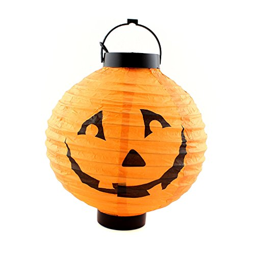 Spirit Locations Halloween Costumes (Halloween Party Decorations Paper Pumpkin LED Light Bulb Lamp by Hello Halloween | Black & Orange Halloween Lantern Light with Face)
