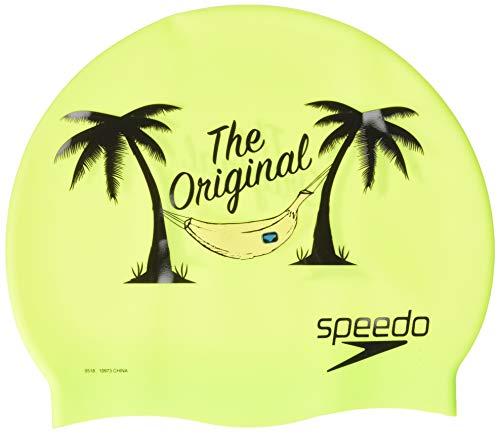 Speedo Silicone Printed Caps - Sport Neon, One Size