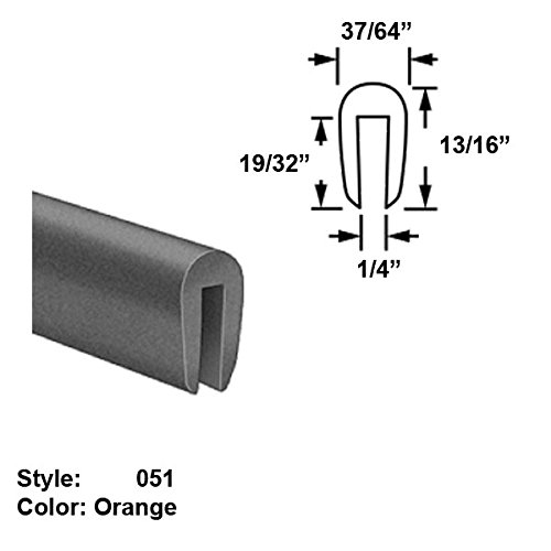 Silicone Foam High-Temperature U-Channel Push-On Trim, Style 051 - Ht. 13/16'' x Wd. 37/64'' - Orange - 25 ft long by Gordon Glass Co.