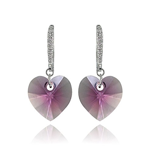Sterling Silver Pink Heart Dangle Earrings Created with Swarovski Crystals ()