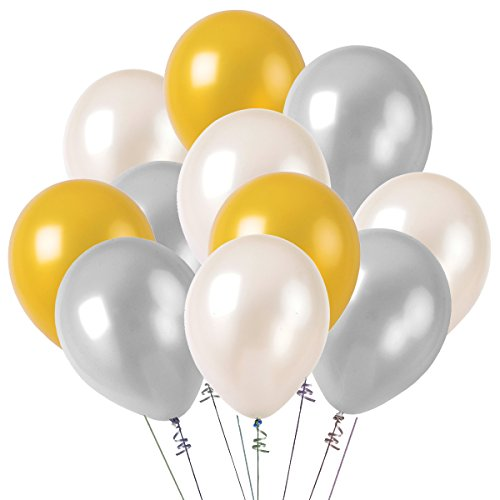 Kumeed 12  White Gold Silver Balloon Latex Balloons Globos Party Birthday Wedding Decoration Balloons Pack Of 100