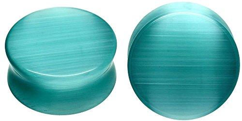 Eye Gauge (SoScene Aqua Cats Eye Organic Stone Ear Plugs Gauges Sold in Pairs (19mm-3/4 Inch))