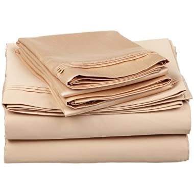 100% Premium Long-Staple Combed Cotton 650 Thread Count, King 4-Piece Sheet Set, Deep Pocket, Single Ply, Solid, Beige