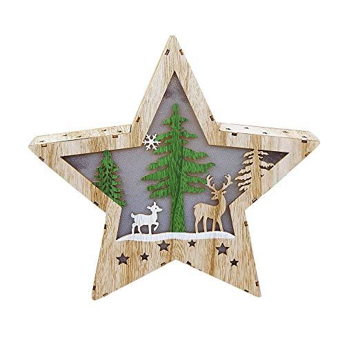 Jieyui Christmas Decorations,Illuminated Cabin Christmas Tree Pendant-Christmas Ornaments LED Light Five-Pointed Star Wooden Christmas Tree Decoration (B)