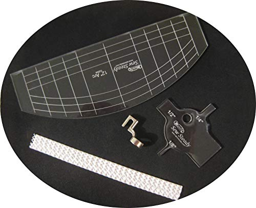BlueArrowExpress Free Motion Ruler Quilting Presser Foot with Template Compatible with Viking Husqvarna Cat 5-7 Brother, Bernette, Singer, Necchi, Elna, Elnita, Kenmore, Simplicity, Singer, White - Art Wfl