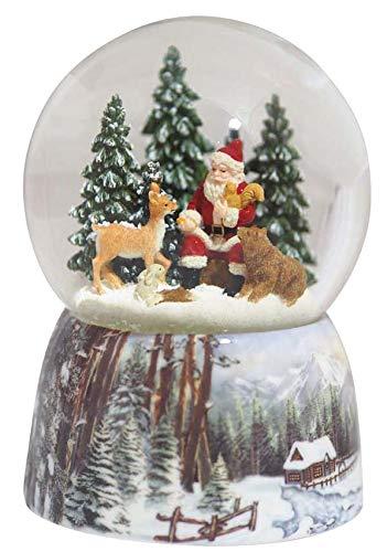 858298 Carillon Palla di Neve con Babbo Natale nella Foresta Il mondo dei carillon Mmm GmbH