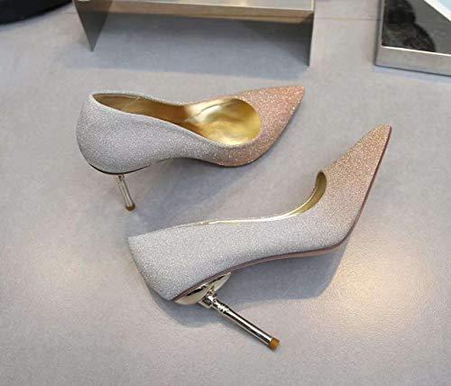 Mujer De Gold tacón De Alto Sandalias Tacón zapatos Puntiagudas de alto Yukun Boda con qx1Awf