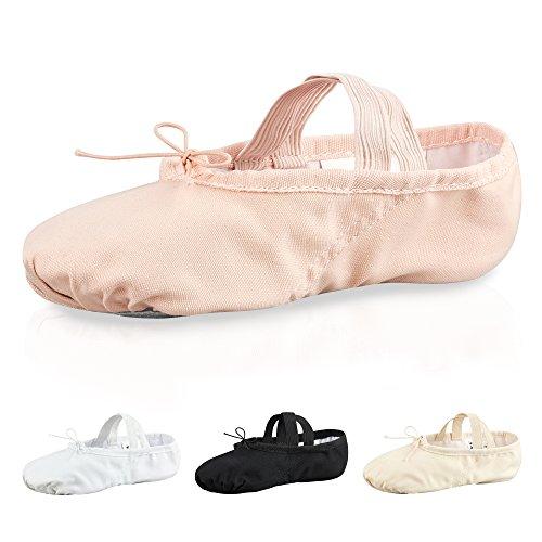 Zapatillas de ballet - Lino, suela entera de cuero - Blanco/negro/rosa albaricoque Rosa albaricoque