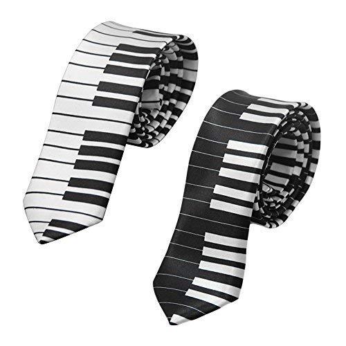 Ogquaton Hombre Blanco y Negro Teclas de Piano Corbata Delgada Corbata Estrecha Boda Casual Traje de Fiesta Accesorio Creativo y /útil