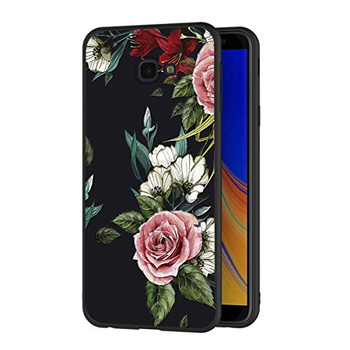 Eouine Samsung Galaxy J4 Plus Case, Phone Case 3D Relief Silicone Black Embossed with Floral Flowers Pattern Design Slim Shockproof Back Cover Skin for Samsung Galaxy J4 Plus (Flowers 3)