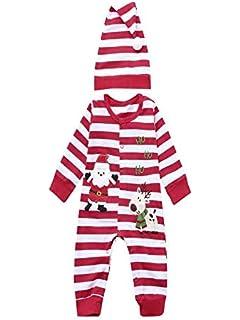 BBsmile Ropa de bebé Navidad Recién Nacido Bebé Niñas Niños Mamelucos Mono + Sombrero 2 Unids…