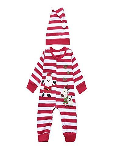 BBsmile Ropa de bebé Navidad Recién Nacido Bebé Niñas Niños Mamelucos Mono  + Sombrero 2 Unids 4c8ea8a754bf